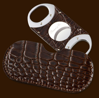Brizard & Co. The Double Guillotine Crocodile Pattern Tobacco Cigar Cutter