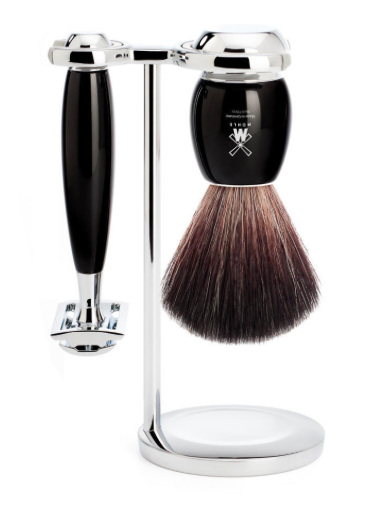 Muhle VIVO 3 Piece Black Resin/Chrome Pure Badger Brush/Safety Razor Shave Set