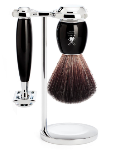 Muhle VIVO 4 Piece Black Resin Safety Razor Shave Set
