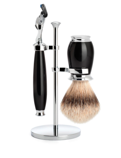 Muhle PURIST BLACK 3 PIECE SILVERTIP BADGER/FUSION SHAVING SET