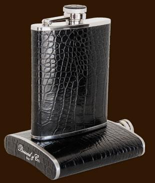 Brizard 6oz Crocodile Black Flask