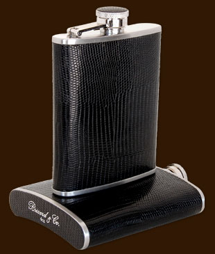 Brizard 6oz Lizard Black Flask