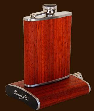 8oz padauk wood flask