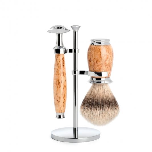 Muhle PURIST Shave Set Safety Razor Silver Tip Birch Burl