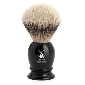 Muhle Shave Brush Silver Tip Badger Black Resin Handle