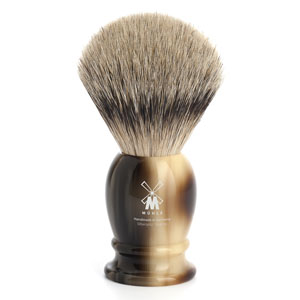 Muhle Shave Brush Silver Tip Badger Brown Resin Handle