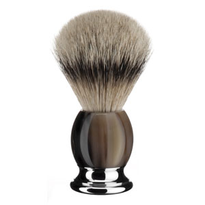 Shave Brush Silver-tip Buffalo Horn