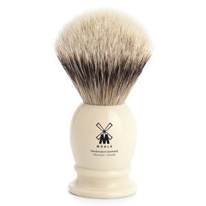 Muhle Shave Brush Silver Tip Ivory Resin Handle