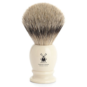 Muhle Shave Brush Silver Tip Badger Ivory Resin Handle
