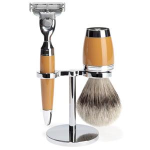 Stylo - shaving set, silvertip badger, high-grade resin butterscotch