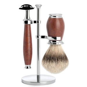 Muhle 3 Piece Shave Set Safety Razor Silver Tip Badger Briar Wood Handle