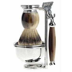 Shave Set 4 Pieces Safety Razor Silvertip Brown