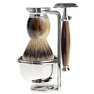 Shave Set 4 Pieces Safety Razor Silver-tip