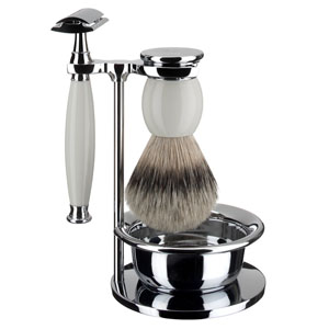 Shaveset 4 pcs silver-tip whit