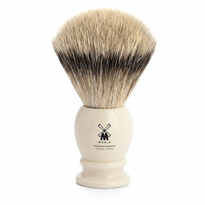 Muhle Shaving Brush Silvertip Badger Ivory Resin Handle
