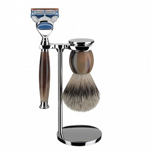 Sophist Shaving Set, Silvertip Badger, Light Buffalo Horn