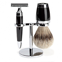 Shave Set 3 Pieces Safety Razor Silver-tip Black