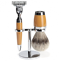 Stylo - shaving set, silvertip badger, high-grade resin butterscotch
