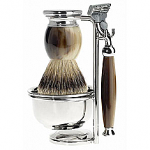 Shave Set 4 Pieces Safety Razor Silvertip Brown