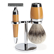 Shave Set 3 Pieces Safety Razor Silver-tip Resin