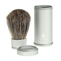 Shave Brush Travel Silver Aluminium