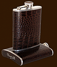 Brizard 6oz Tobacco Crocodile Flask