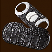 Brizard & Co. The Double Guillotine Crocodile Pattern Black Cigar Cutter