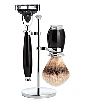 Muhle PURIST BLACK 3 PIECE SILVERTIP BADGER/MACH3 SHAVING SET