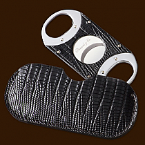 Brizard & Co. The Double Guillotine Lizard Pattern Black Cigar Cutter