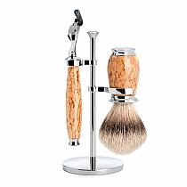 Muhle Shave Set Fusion Silver Tip Birch Burl