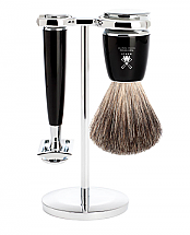 Muhle RYTMO 3 Piece Black Resin/Chrome Shave Set