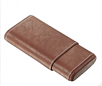 Visol Brown Cigar Case With White Stitching