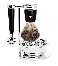 Muhle Rytmo 4 Piece Black Resin/Chrome Shave Set