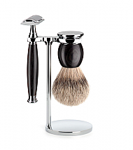 MUHLE SOPHIST GRENADILLE 3 PIECE SILVERTIP BADGER/SAFETY RAZOR SHAVING SET
