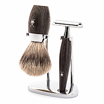 Kosmo 3pcs Bog Oak Safety Razor /Fine Badger
