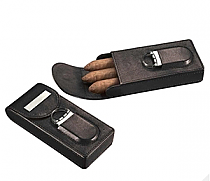 Visol Caldwell Black Leather Cigar Case with Cigar Cutter