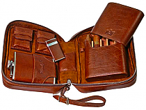 Brizard Havana Travel Humidor Antique Saddle