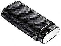 Visol Visari Black Carbon Fiber Patterned Leather 2-3 Cigar Case