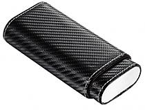 Visol Visari Black Carbon Fiber Patterned Leather 2-3 Cigar Case