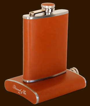 Brizard 8oz Sunrise Tan Leather Flask