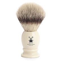 Muhle Shave Brush Synthetic Silver Tip Ivory Resin Handle