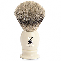 Muhle Shave Brush Silver Tip Badger Ivory Resin Handle