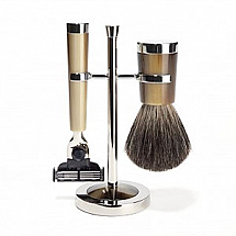 Shave Set 3 Pieces Mach3 Brown Resin