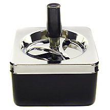 ASHTRAY SPINNING SQUARE BLACK