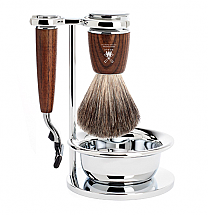 Muhle RYTMO 4 Piece Steamed Ash Pure Badger Brush/Mach3 Razor