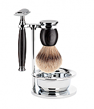 MUHLE SOPHIST GRENADILLE 4-PIECE SILVERTIP BADGER/SAFETY RAZOR SHAVING SET