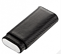 Visol Castillo Carbon Fiber Patterned Leatherette Cigar Case - Holds 3 Cigars