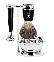Muhle Rytmo 4 Piece Black Resin/Chrome Shave Set