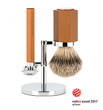 Muhle 3 Piece HEXAGON Bronze Silvertip Safety Razor Shave Set