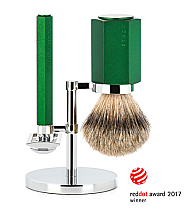 Muhle Hexagon Forest Green 3 Piece Safety Razor Shave Set